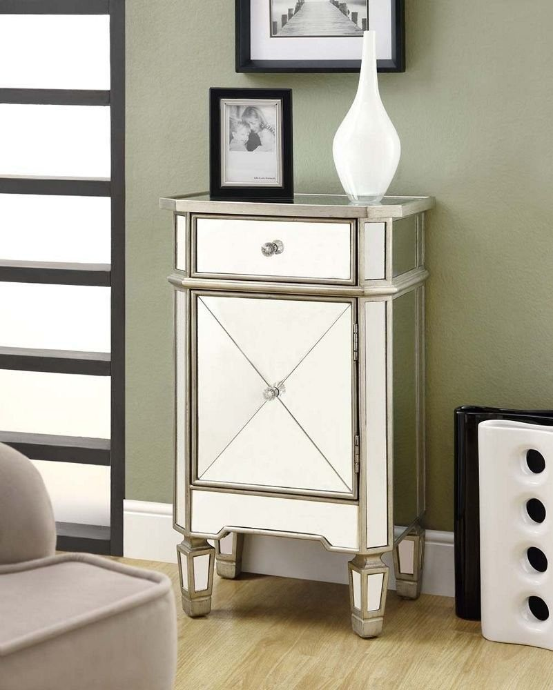 NEW! Monarch Mirrored Furniture Accent Cabinets Bedside Chest Table ...