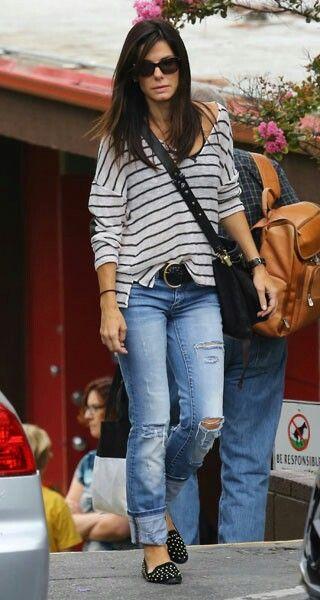 Sandra Bullock Striped Tee Jeans Black Studded Loafers