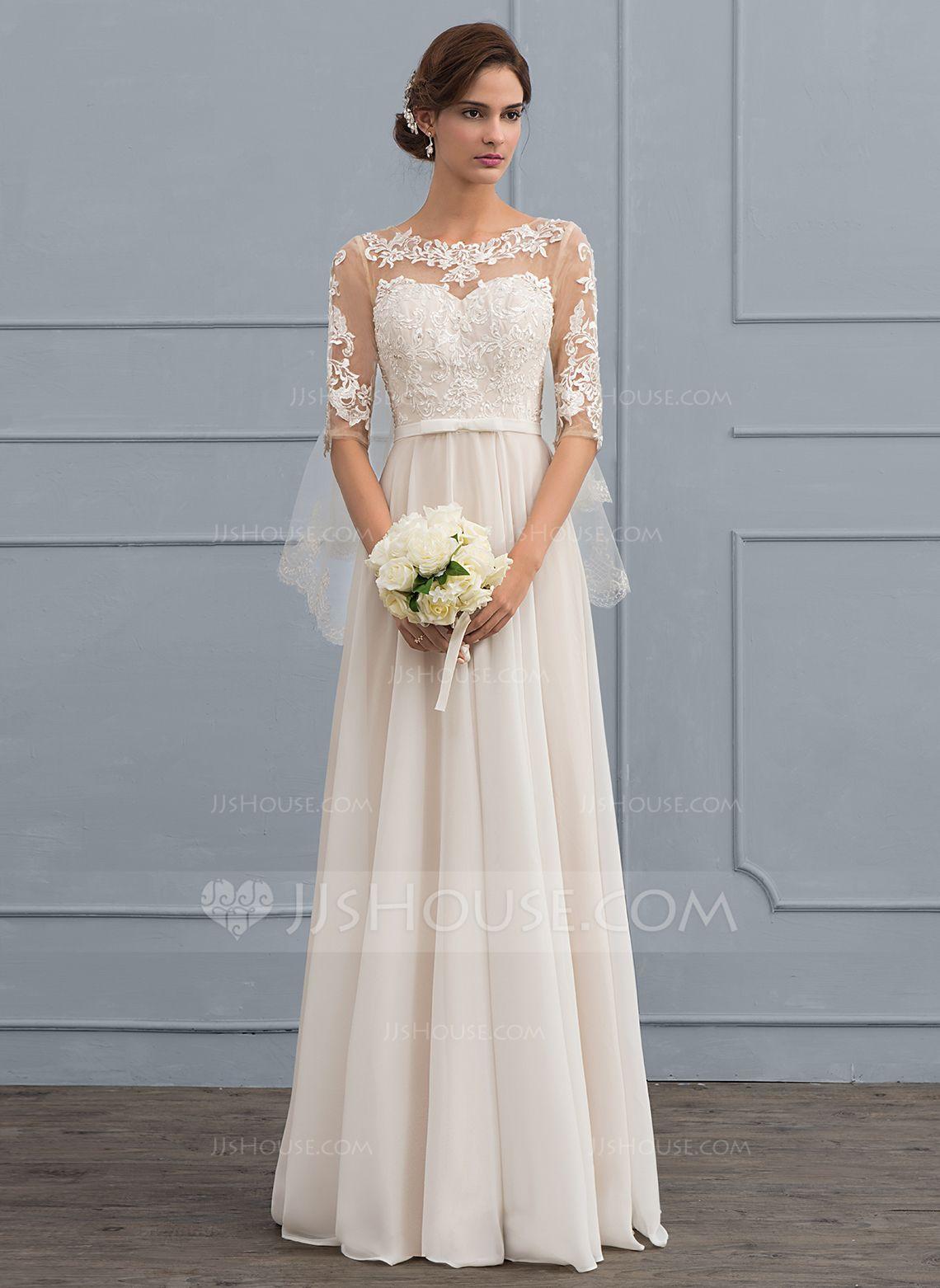 A-Line/Princess Scoop Neck Floor-Length Chiffon Wedding Dress With ...