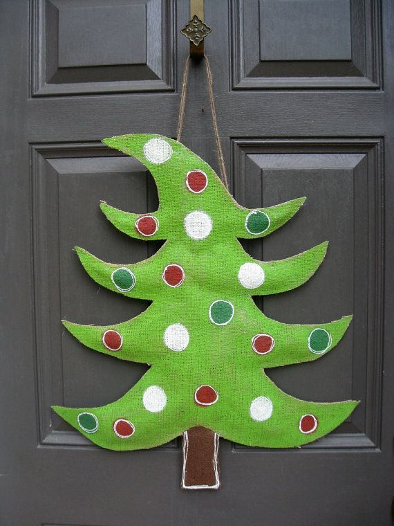 Burlap Christmas tree door hangerlove! Door Decor Pinterest