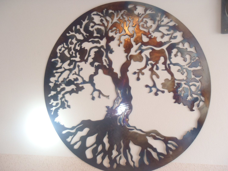Tree of life metal wall decor metal art heat colored metal