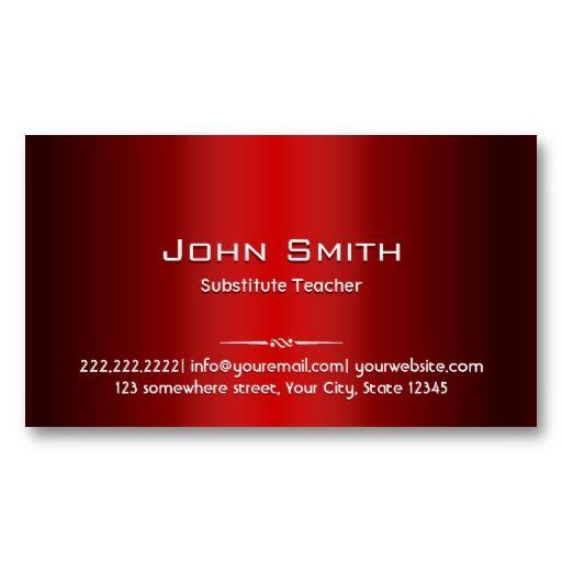 Red Metal Substitute Teacher Business Card Teacher Business - Substitute teacher business card template