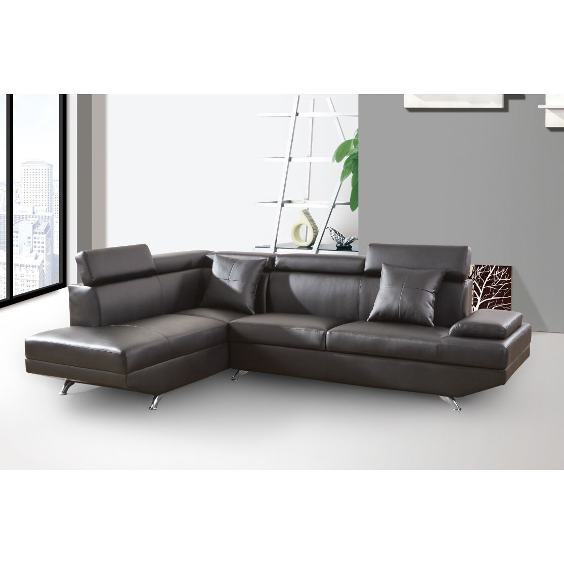 Elena black leather modern 2 piece sectional sofa set for Black leather sectional with chaise