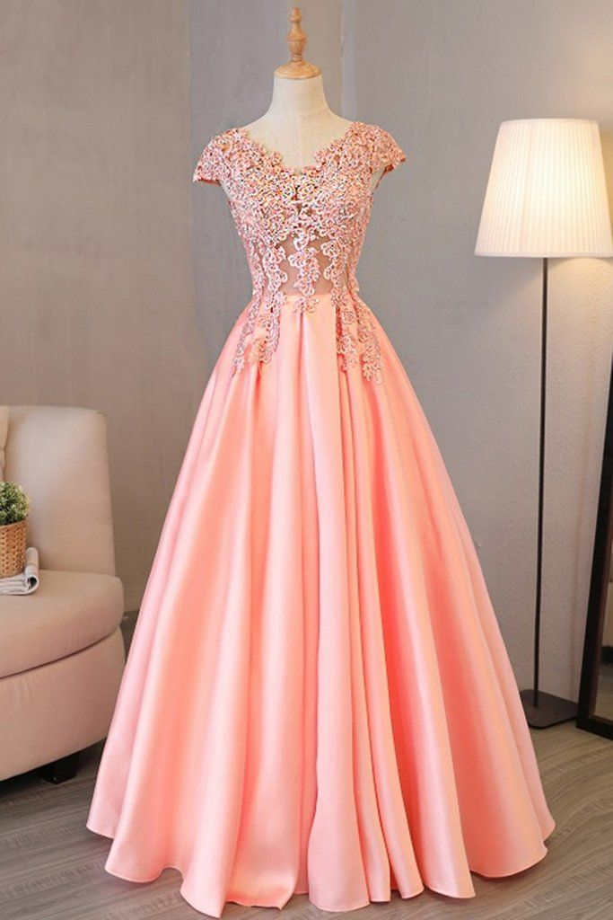 Pink satin long cap sleeves beading and sequins senior prom dress 55644478f8d9