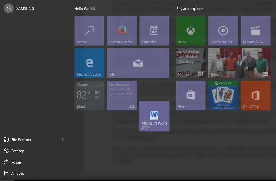 edit start menu windows 10