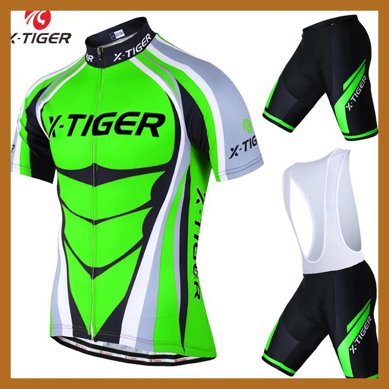 e9a37ce69 X-Tiger Short Sleeve Cycling Jersey set Flour Green MTB Bike Clothes Mans  Summer Bicycle Clothing Maillot Conjunto Ropa Ciclismo