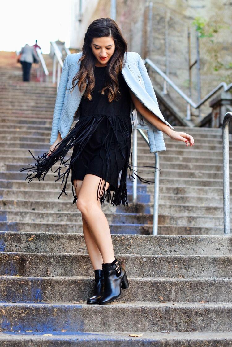 schwarzes kleid kombinieren jacke