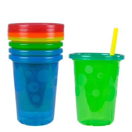 Assorted Colors 4 ea Toss Spill-Proof Cups 10-Ounce The First Years Take