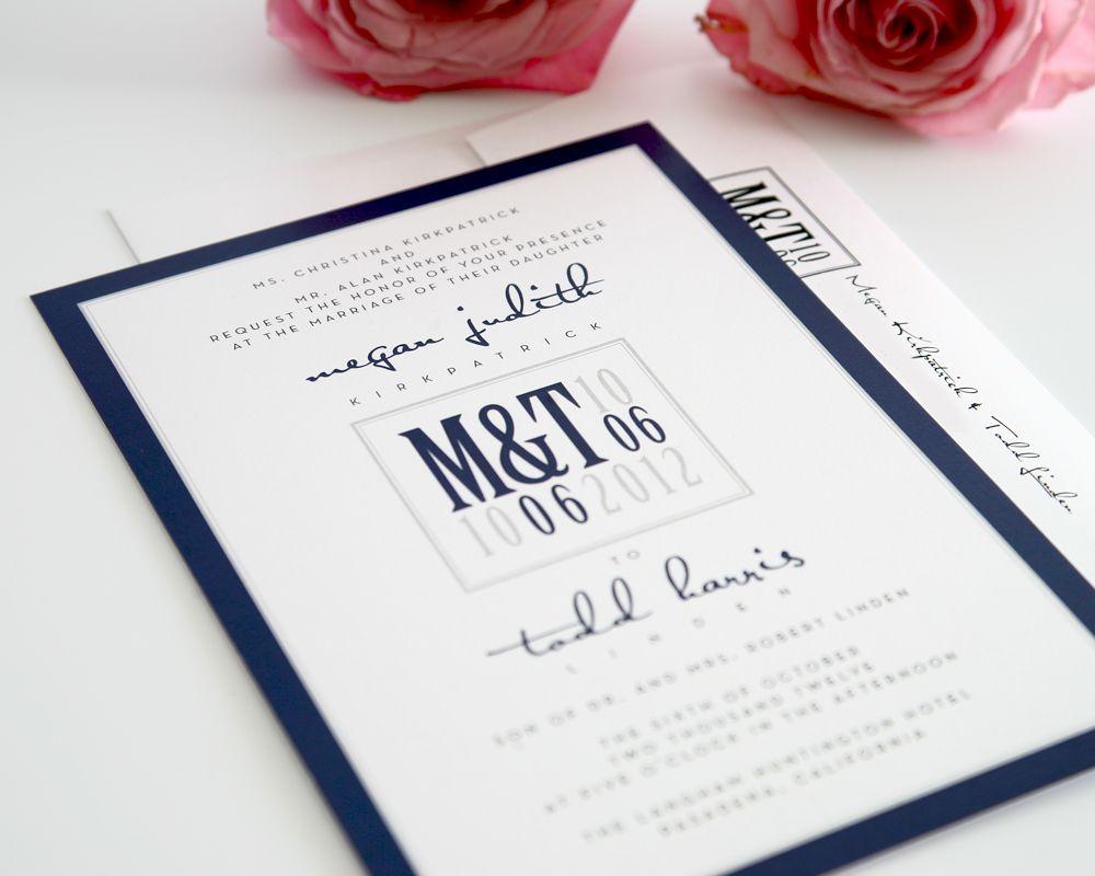 Navy Blue Invitations Wedding