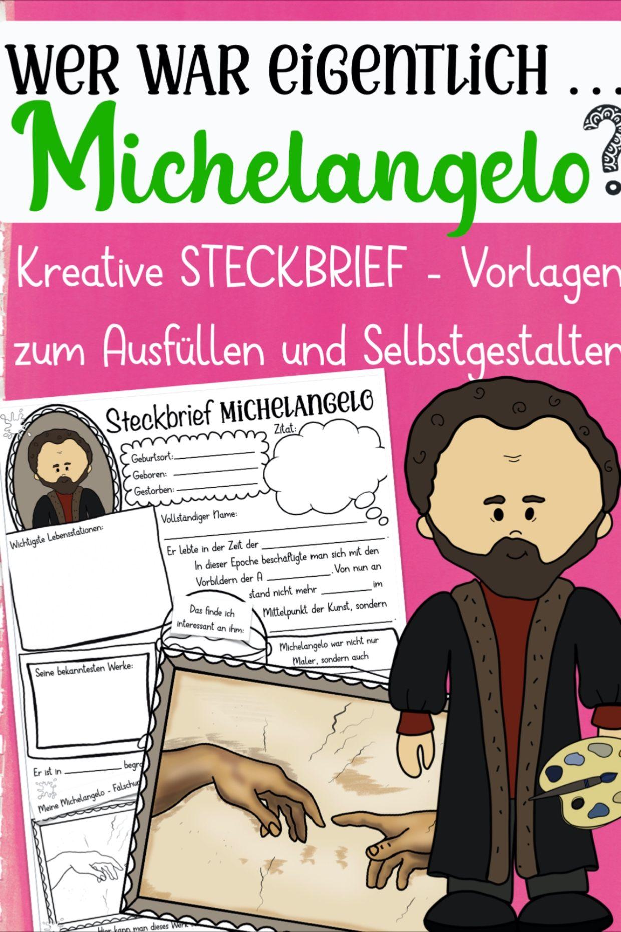 Michelangelo Steckbrief Unterrichtsmaterial Im Fach Kunst Kunstunterricht Michelangelo Geschichtsunterricht