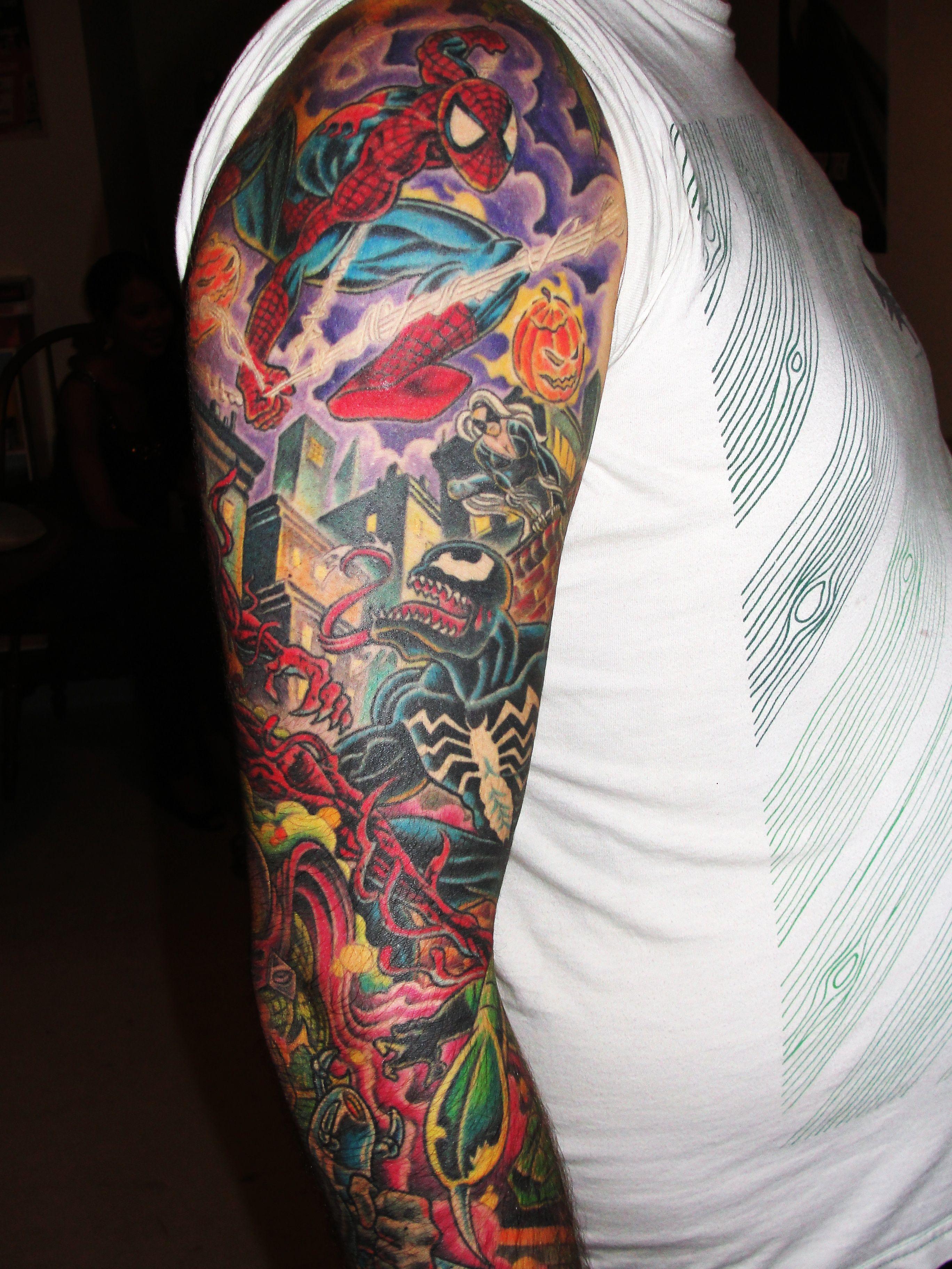 full color arm sleeve tattoo Spiderman tattoo, Forearm