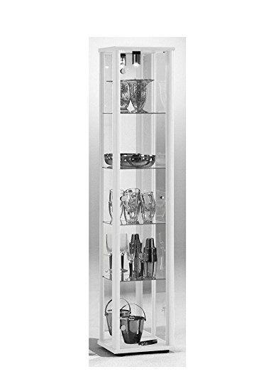 Glasvitrine Sammlervitrine Vitrine Beleuchtung Weiss mit Spiegel - wohnzimmer vitrine weis