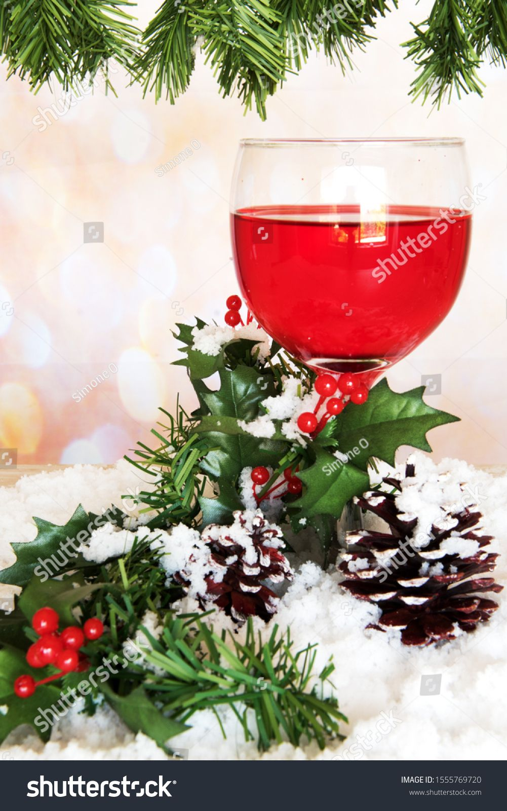 Port Wine Glass With Pine Cone And Mistletoe On Festive Background Holiday And Christmas Theme Ad Ad Pine Cone Glass Port Port Wine Wine Glass Glass