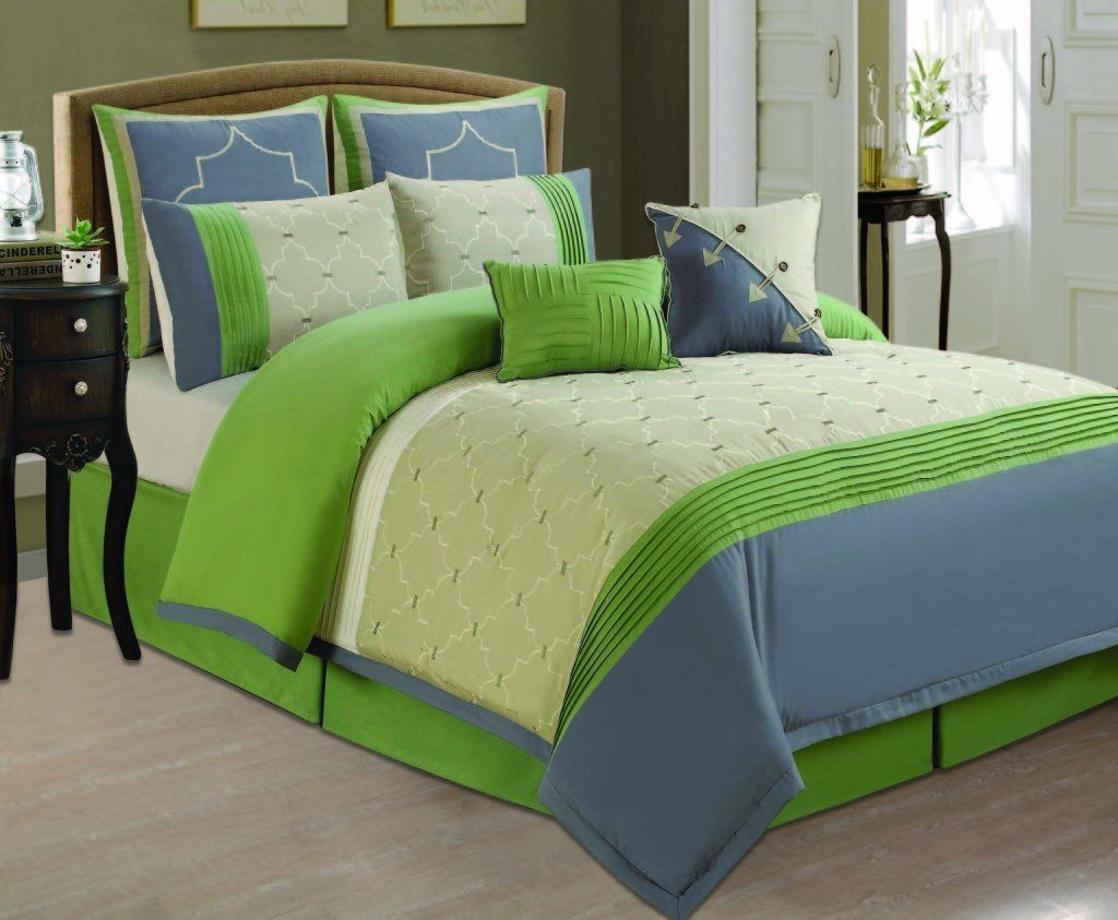 Bedroom colors blue and green - Blue And Green Bedding Sets Lime Green Grey Blue Comforter Set Full