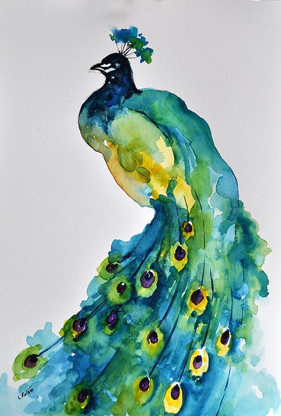 Original Watercolor Painting Colorful Peacock Aqua Green Yellow