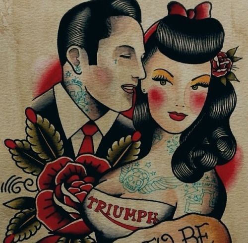 This is a similar drawing art of my Rockabella & Skinhead's Love!
