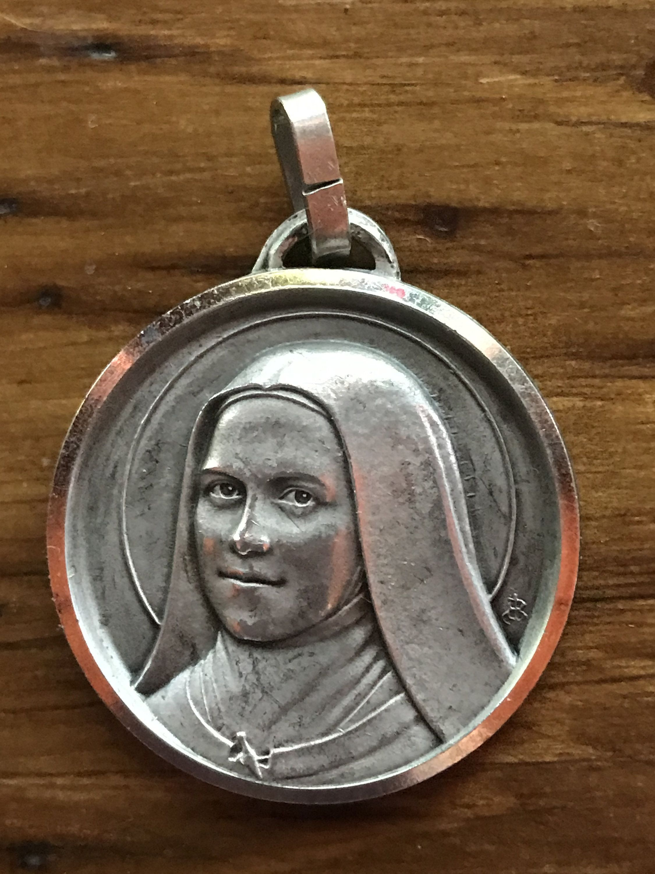 Saint Therese Sterling Silver Religious Medal Pendant on 18 inch sterling silver rolo chain