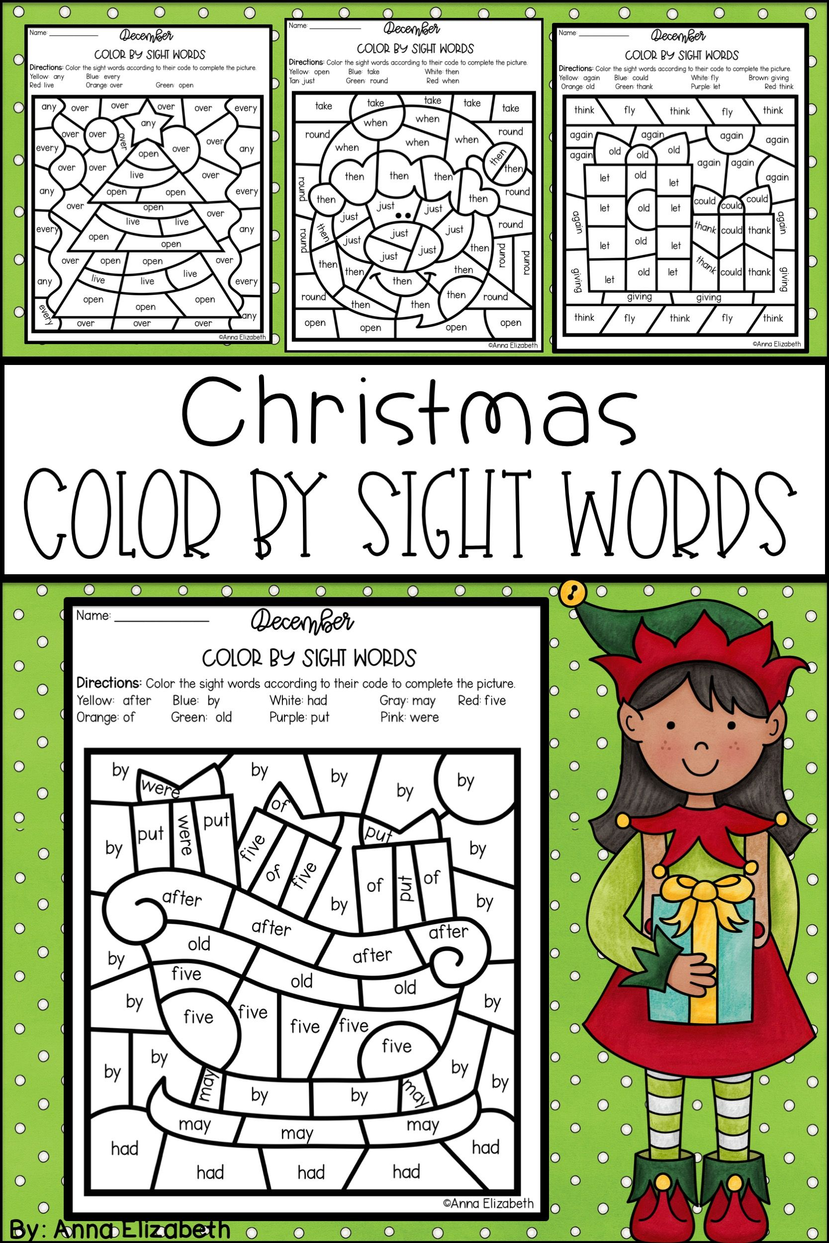 christmas color by sight words | all subjects and grades@tpt | first