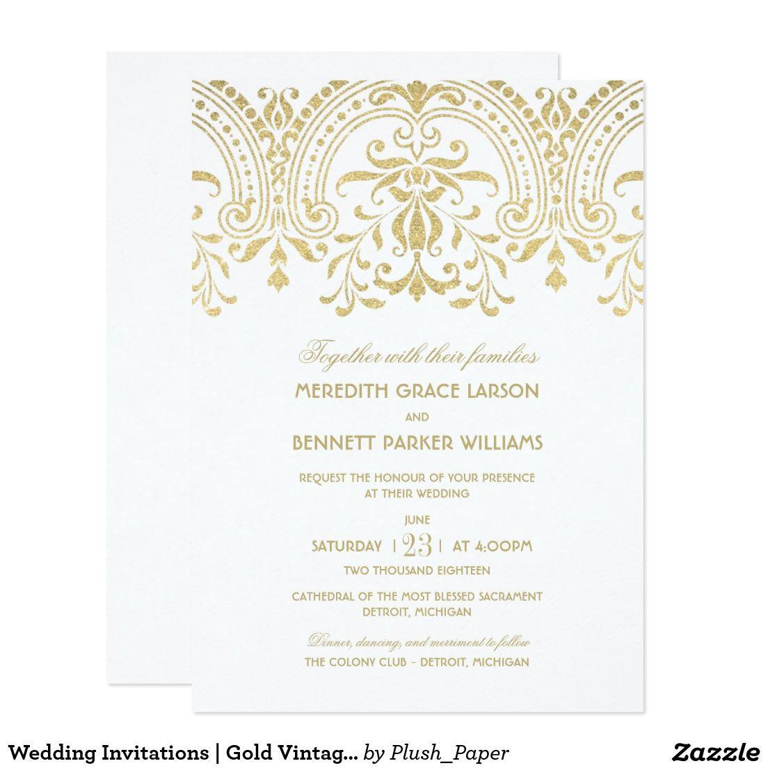 Wedding Invitations | Gold Vintage Glamour | Someday... | Pinterest ...