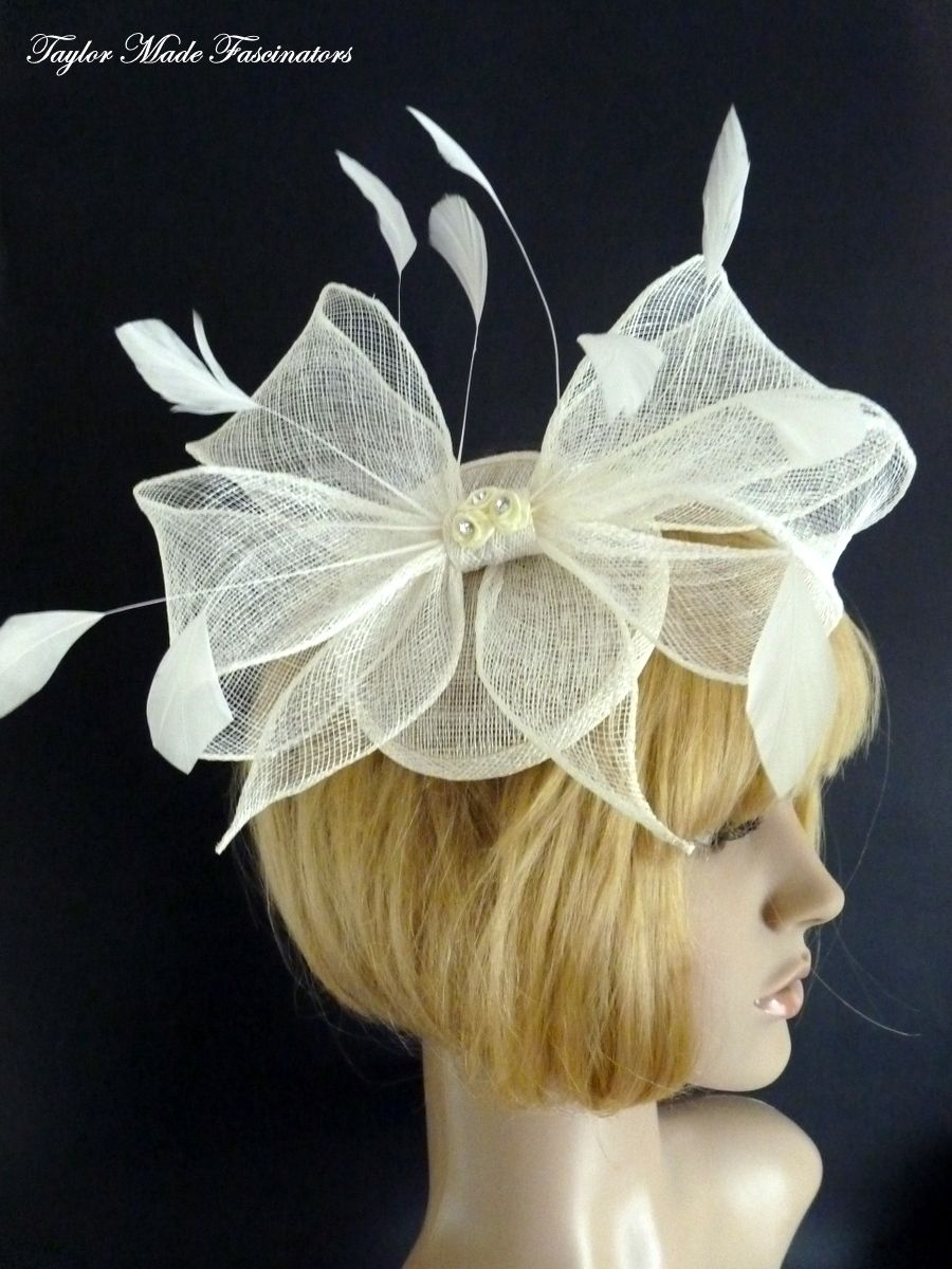 Ivory half bow with feathers