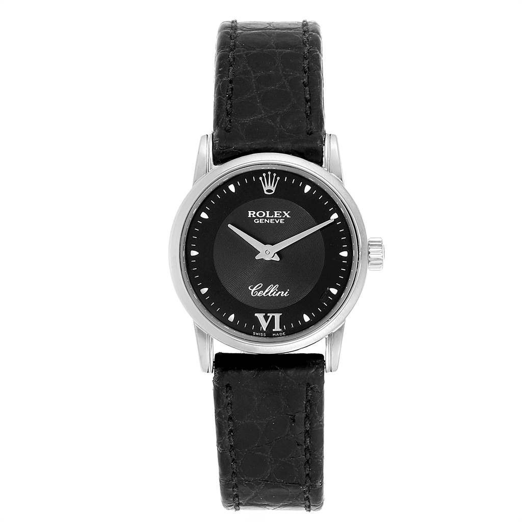 Rolex Cellini Classic 18k White Gold Black Dial Ladies Watch 6111 In Not Applicable Modesens In 2020 Women Wrist Watch White Gold Womens Watches
