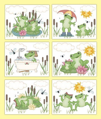 Frog Wall Art Prints Boy Nursery Froggy Woodland Pond Animal ...