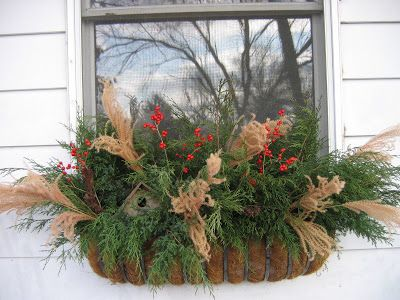 Greenbow Winter Window Boxes And Planters Christmas Window Boxes Winter Window Boxes Window Box Flowers