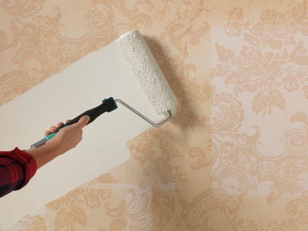 how to paint over wallpaper   Diy wallpaper