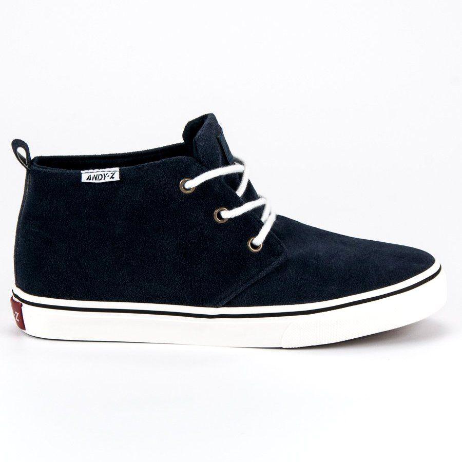 Andy Z Zamszowe Trampki Nad Kostke Niebieskie Sneakers Dc Sneaker Shoes