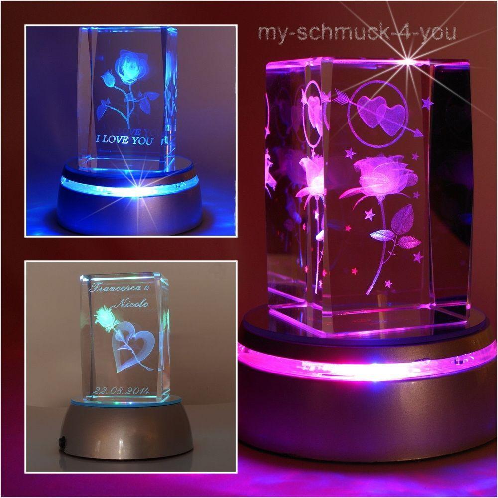 3d Glas Kristall Quader Rosen Liebe Led Sockel Inkl Diamant Gravur Valentinstag Sockel Led Gravur