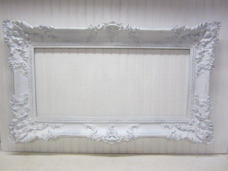 Large 39x23 Vintage Ornate Shabby White Gold Resin Frame. $79.00 ...
