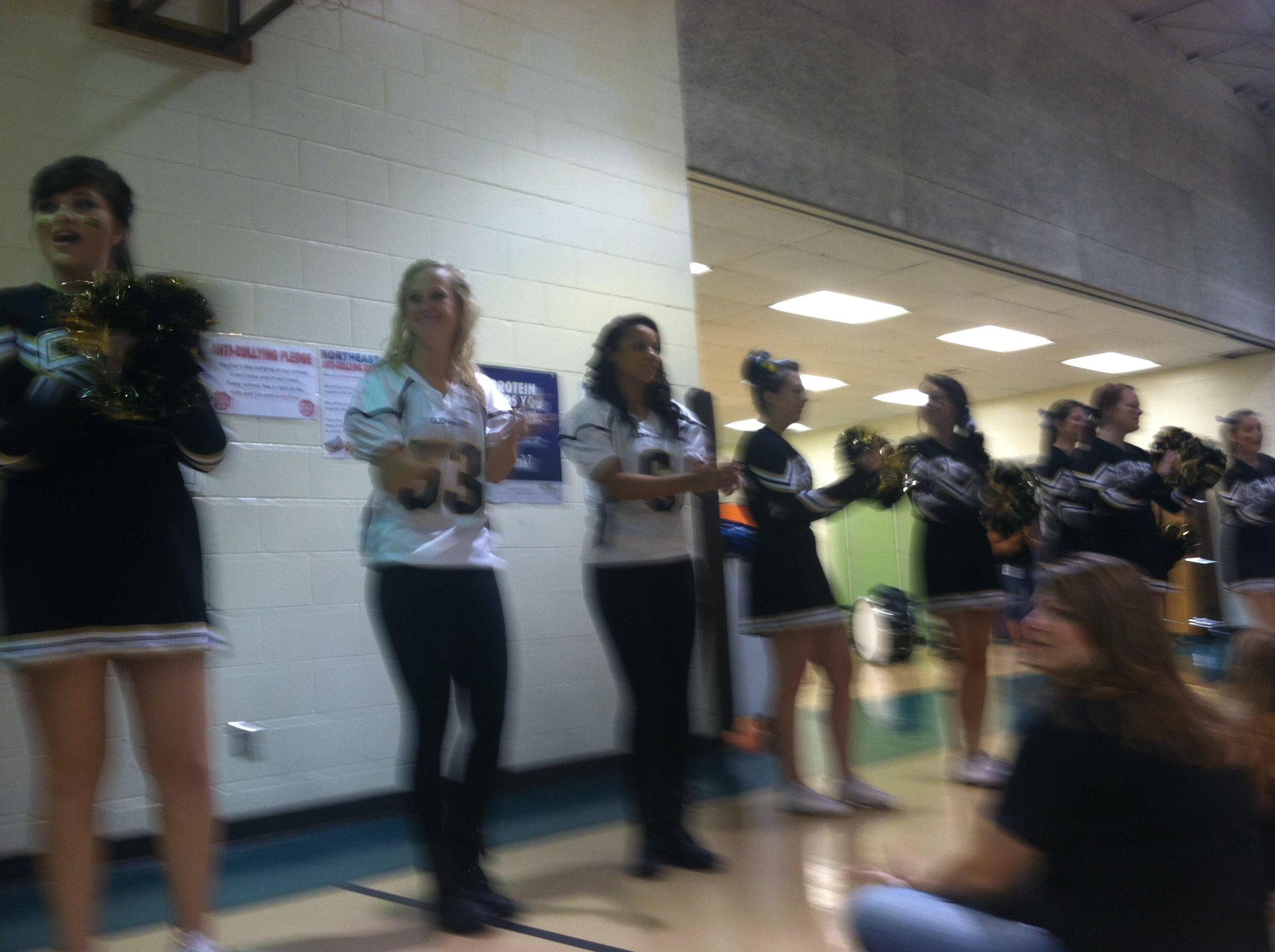 Dance team girls at the pep rally for the elementary kids