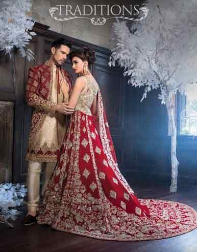Bridal In Long Tail Red And Silver Lehnga Choli Groom Matching Cream Wedding Attirewedding Dresseswedding
