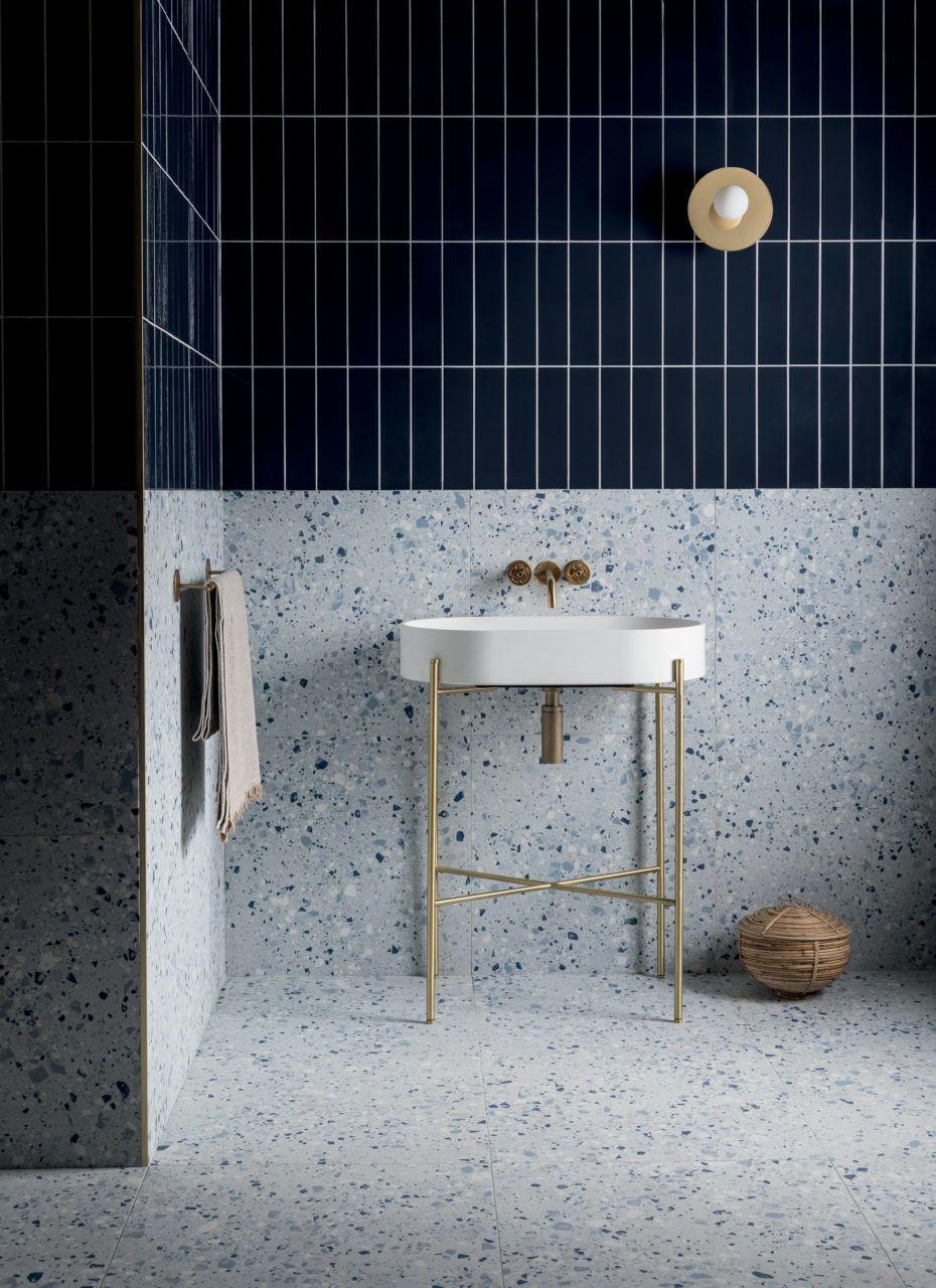 Photo of Terrazzo Nouveau Cobalt Matt Porcelain Tile | Mandarin Stone