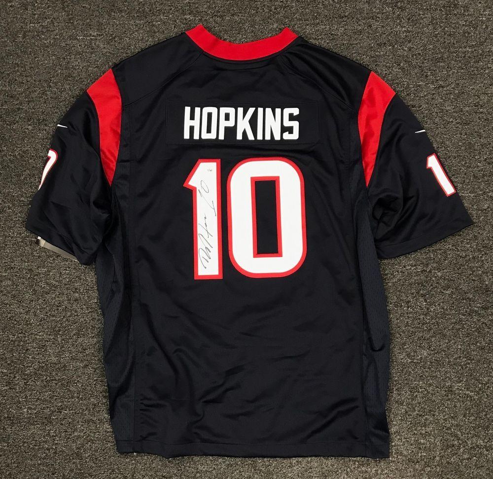 18bd3308593 DeAndre Hopkins  10 Signed Texans NIKE Jersey Autographed Sz XL FANATICS COA