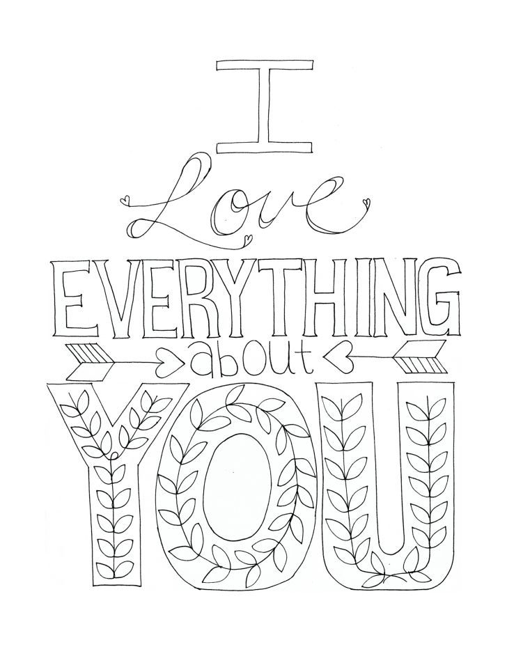 Free printable coloring sheets with sweet phrases have for Love coloring pages printable