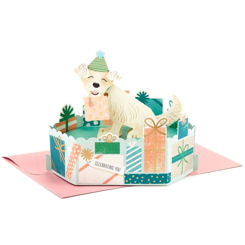 Celebrating you party pup 3d popup birthday card