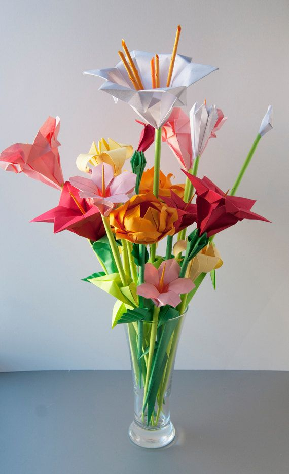 Assorted Origami Flowers: Pink, Red, Yellow. $50.00, via Etsy.