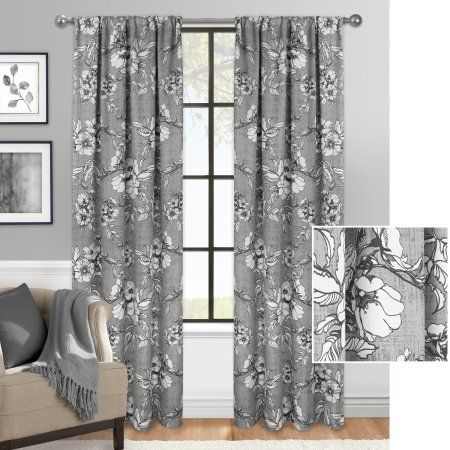 Mainstays Antique Floral Curtain Panel, Gray | Products