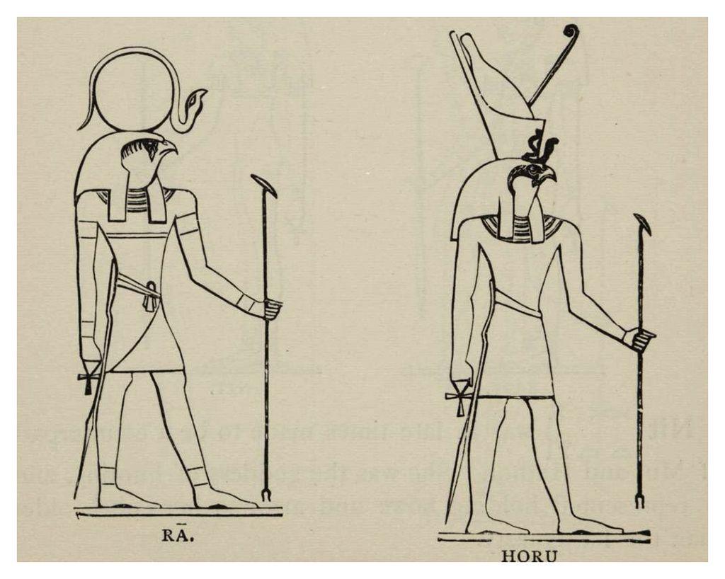 Dieux égyptiens hiéracocéphales (à tête de faucon) : Rê & Horus (1902) - Les deux divinités tiennent dans leurs mains l'Ânkh & le sceptre Ouas. Rê, à gauche, est surmonté du disque solaire où se dresse l'uræus, le cobra qui a pour fonction de protéger pharaon contre ses ennemis. Horus, à droite, porte la double-couronne Pschent, symbole de la souveraineté et de l'unification de la Haute & de la Basse-Égypte.
