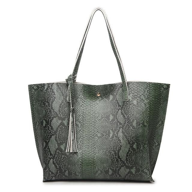 4278ed1d0898 Faux Snakeskin Tote Bag | Products | Leather shoulder bag, Bags ...