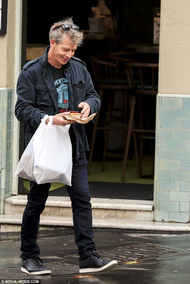 Hungry star! The Rogue One: A Star Wars Story star beamed with delight as he removed the meat pie from its take-away packaging