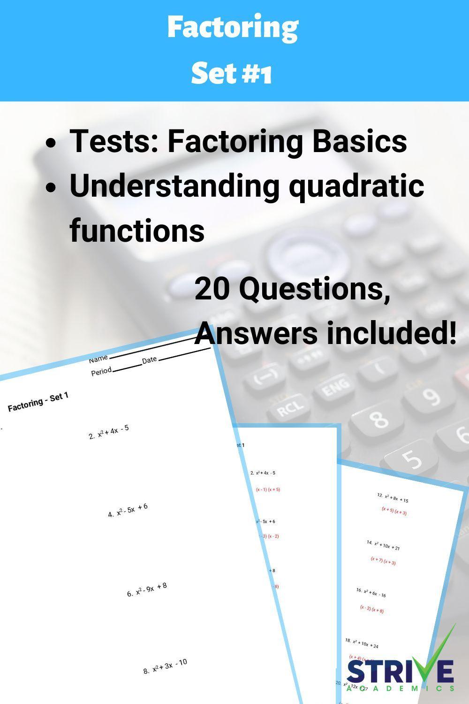 Factoring Quadratic Expressions Set 1 8th Grade Math Problems Quadratics 8th Grade Math