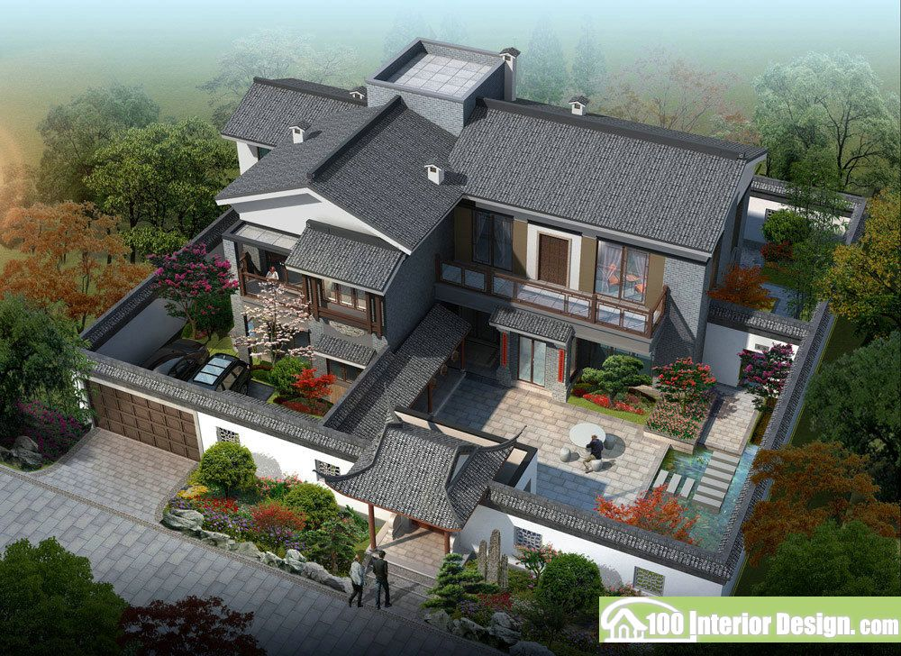 Asian style house plans with courtyard Chinese