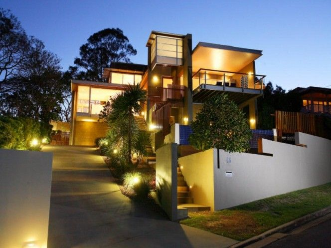 Modern House Exterior Outdoor Lighting Ideas Contemporary