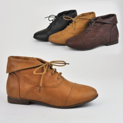 Women Booties Lace Up Boots Shoes Oxfords Fold Over Flap Loafers Nature Breeze