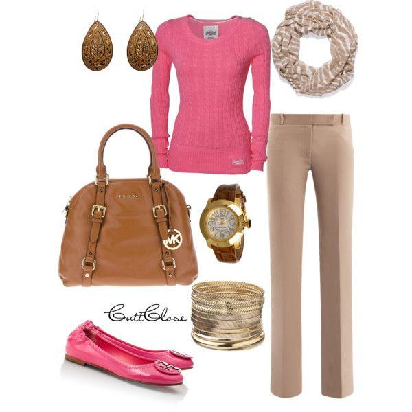 pink n' beige casual work - Polyvore