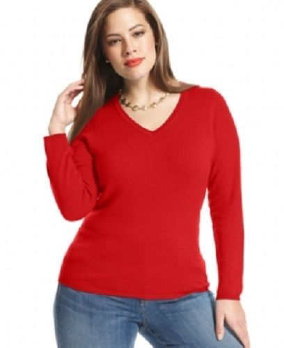 60c4fa30eeb CASHMERE Red V Neck Sweater Charter Club Top Plus Size 3X NWT  159   CharterClub  Sweater  Casual