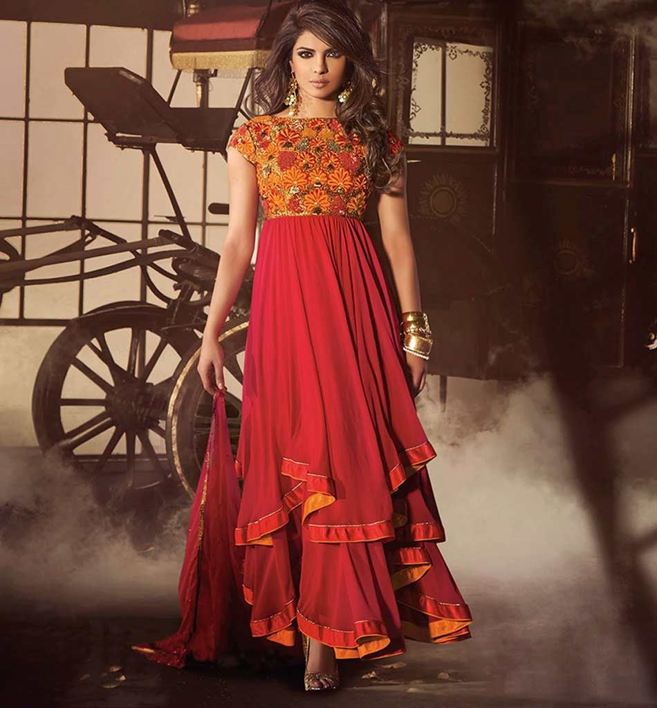 Priyanka Chopra Ravishing Red Salwar Suit Jnhr5032 Stylishbazaar