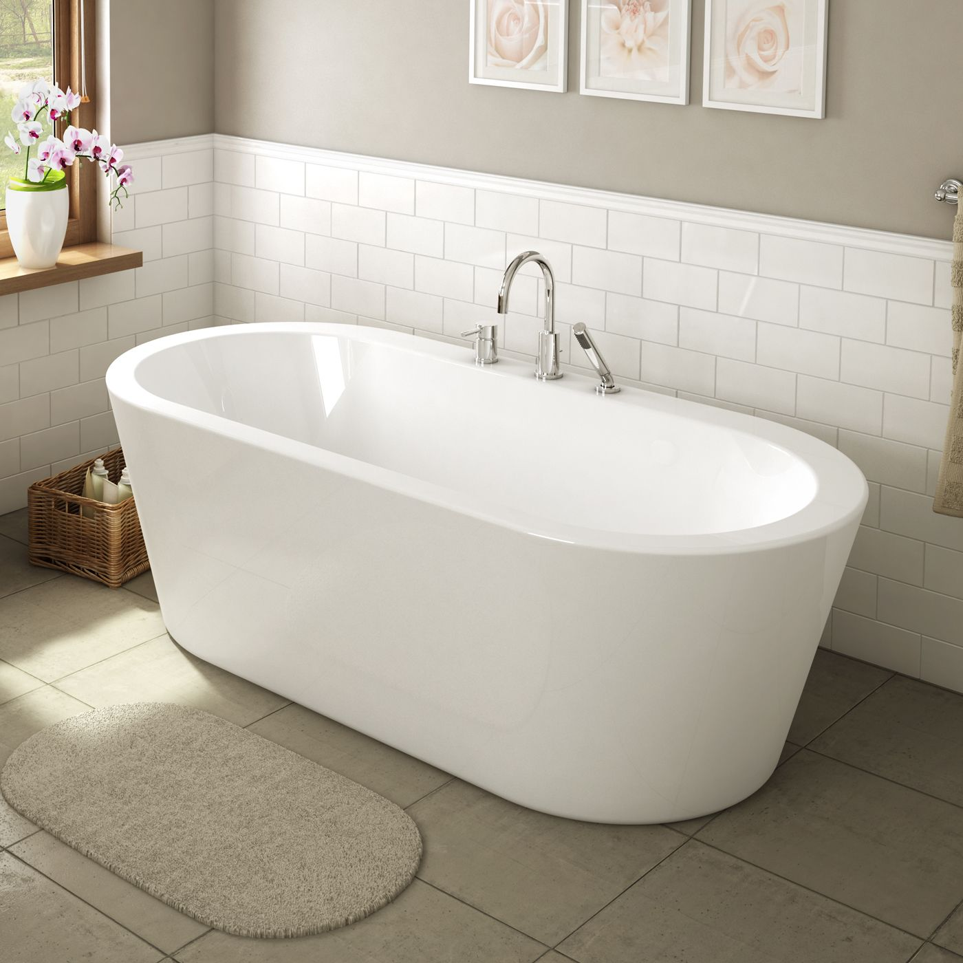 Au0026E Bath And Shower Una Pure Acrylic 71 In All In One Oval Freestanding Tub  Kit